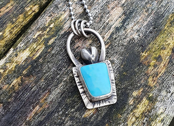 *EMBRACE* Turquoise Heart Sterling Silver Pendant
