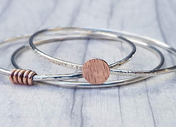 Sterling Silver & Copper Bangle Stack