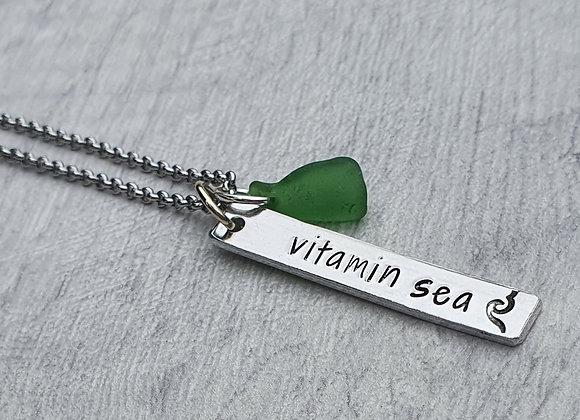 Handstamped seaglass pendant  - Vitamin Sea