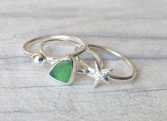 Sterling silver seaglass stacking ring set