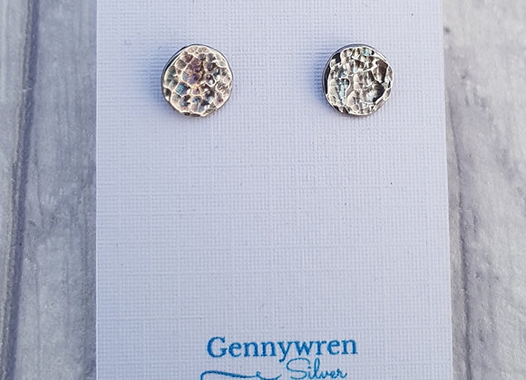 Solid Sterling Silver Luminous Moon Stud Earrings