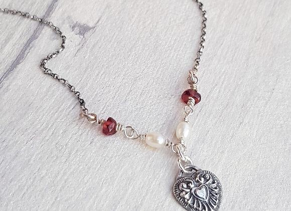 Antique Heart & Garnet Silver Necklace