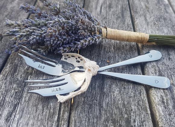 Handstamped Vintage Cake Fork