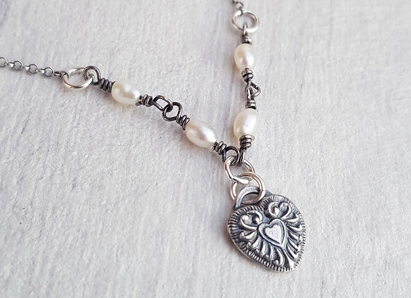 Antique Heart & Natural Pearl Necklace