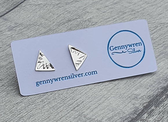 Sterling silver handstamped triangle earrings