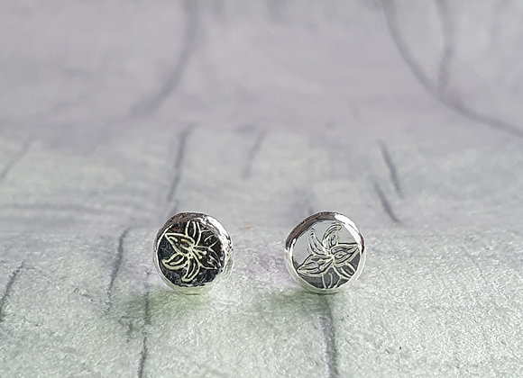 Recycled Sterling Silver Flower Pebble Studs