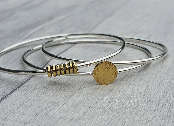 Sterling silver & brass stacking bangle set