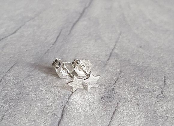 Solid Silver Star Stud Earrings