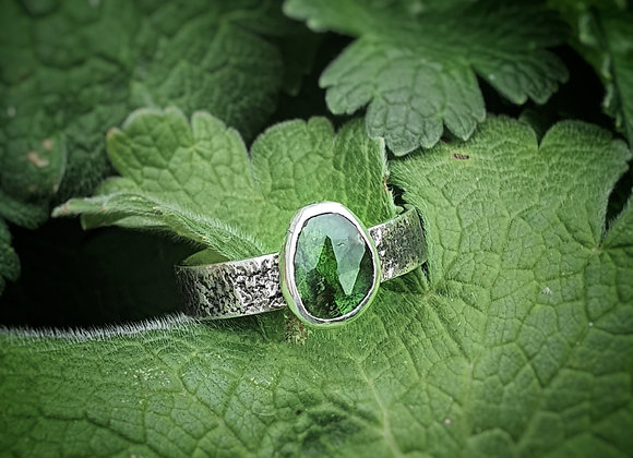 OOAK Green Tourmaline sterling silver ring