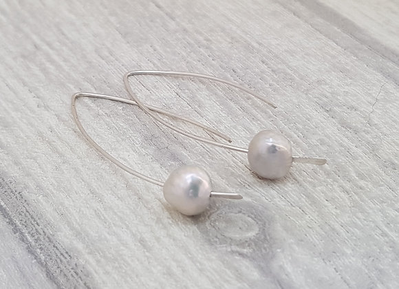 Sterling Silver and Grey Natural Pearl Earrings