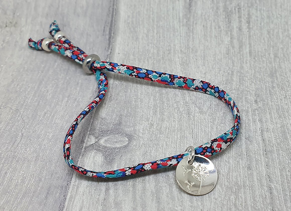 Liberty of London fabric and sterling silver adjustable bracelet