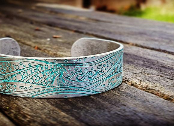Aluminium Stormy Seas Wide Band Cuff Bracelet