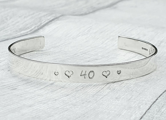 Made to order personalised sterling silver cuff bracelet