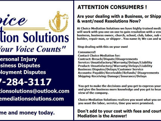 Mediation for Consumer Concerns & Complaints