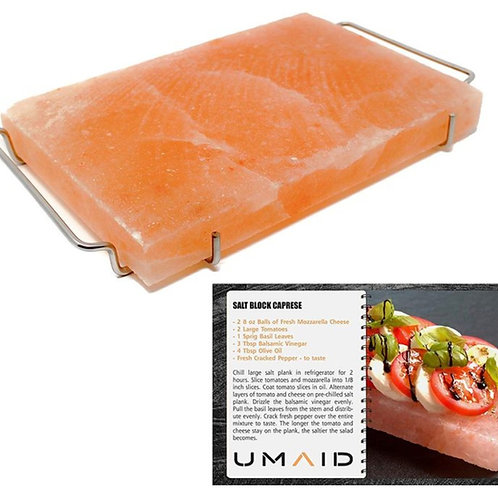 Natural Himalayan Salt Block Plate for Cooking, Grilling, Cutting & Serving