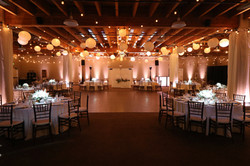 Blush up-lighting and table pinspots