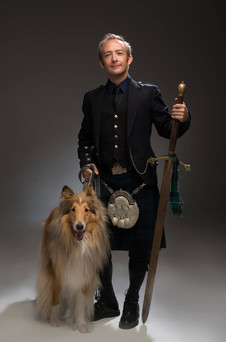 David Brewer with Blaze the dog. Paul Schraub Photography