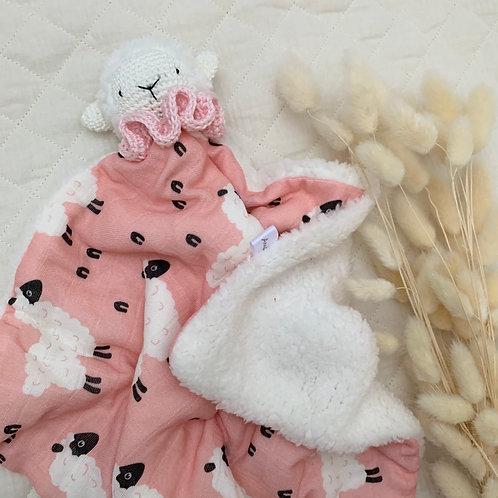 Doudou mouton rose