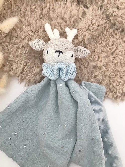 Doudou renne bleu ciel