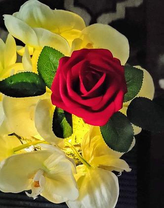 Baby Orchids & 1 Velvet red ROSE w/LED