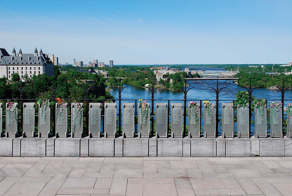 The Canadian Police and Peace Officer's Memorial is a granite wall located on Parliament Hill in Ottawa, Ontario, Canada. It commemorates police and peace officers who have died while on duty in Canada. The wall was unveiled in 1995 and is located to the north of the Centre Block. As of 2017, 860 fallen officers' names have been added to the memorial.