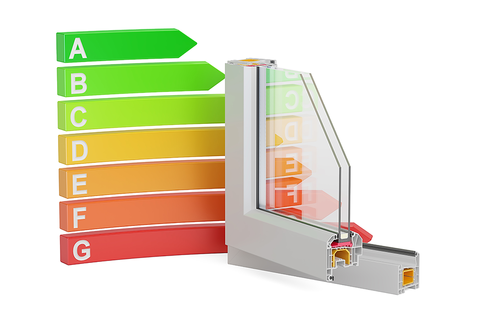 """Window cross section with """"Energy efficiency"""" chart"""