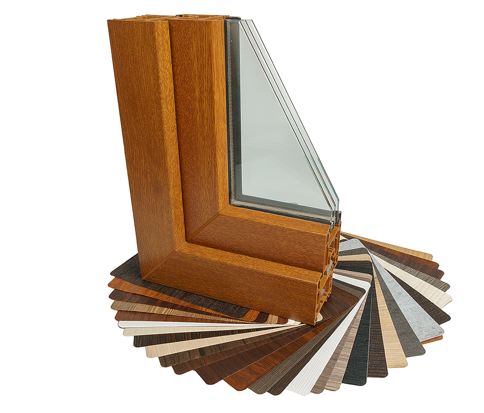 Cross section of tripe glazed window sat on a colour options chart