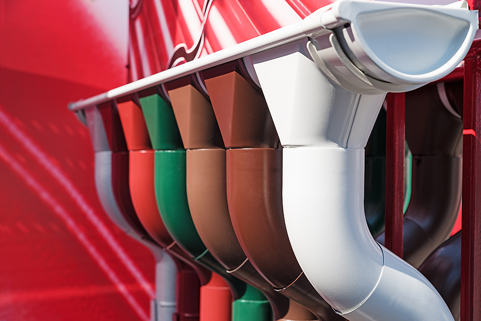 Selection of guttering in multiple colours
