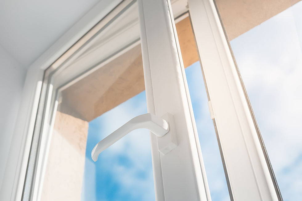 Open Double Glazed window with blue sky