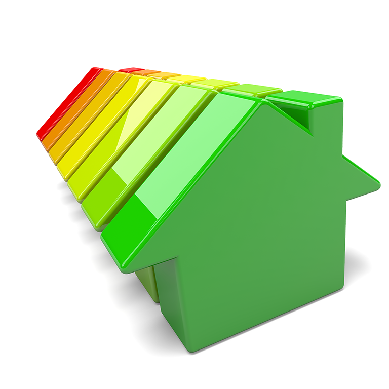 """""""Energy eficiency"""" colour chart on small 3d houses"""