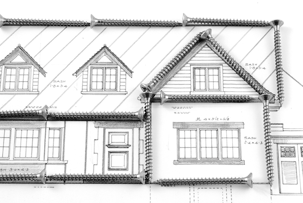 Small Drawing of house plans for windows with screws on contact banner