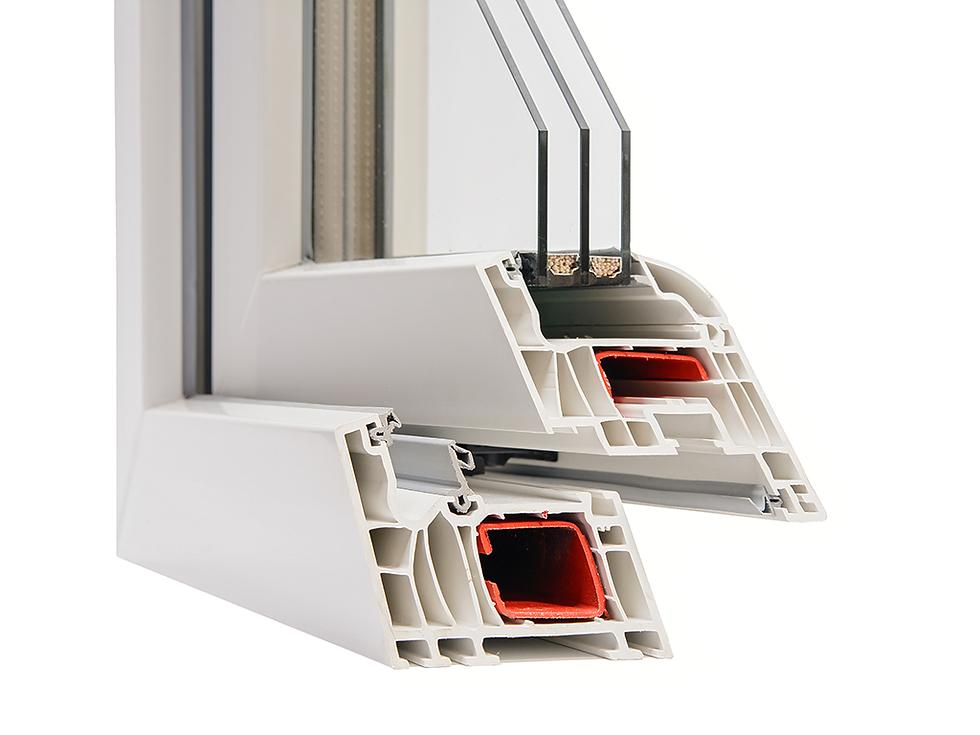 Cross section of triple glazed window