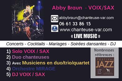 carte de visite 2 chanteuse saxophoniste