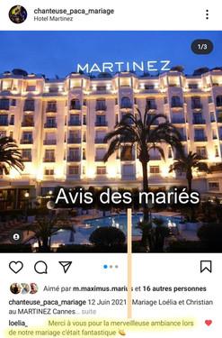 Avis mariage Hotel martinez Cannes Chant