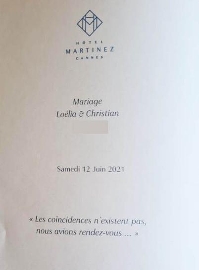 Menu Mariage Martinez Cannes