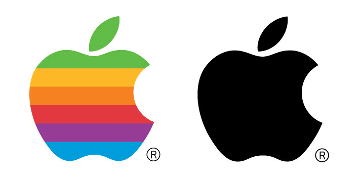 Apple Logo in colour and black only
