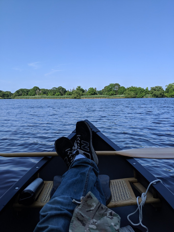 Canoeing on the lake in our neighborhood