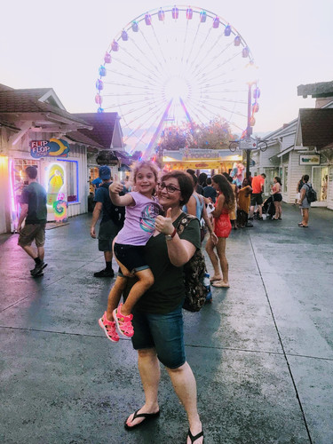 Jessica and her goddaughter in Myrtle Beach