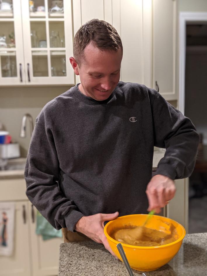 Devon making pumpkin bread