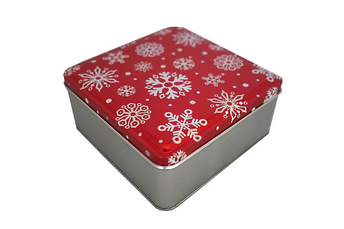 Biscotti & Caramel Brownies - Red Snowflakes Tin
