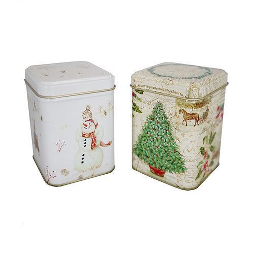Caramel or Lemon Bars in Tall Square Holiday Tins