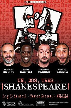 cartel teatro un, dos, tres shakespeare