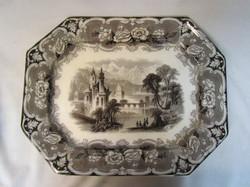 antique 19th century transfer ware platter