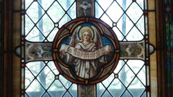 In Memoram Funeral Stainded Glass Mausoleum Window