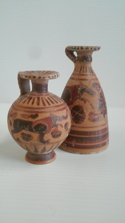 Pair of Greek Aryballos with Lions