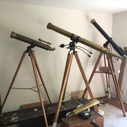 Group of antique telescopes including Alvin Clark