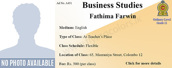 Local GCE Business Studies Tuition Class by Fathima Farwin