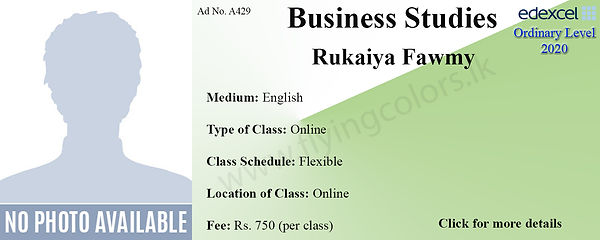 Online Business Studies Edexcel O/L Tuition by Ms.Rukaiya Fawmy