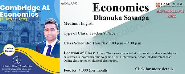 Cambridge A'Level Economics Tuition by Dhanuka Sasanga