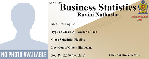 Local GCE Business Statistics Tuition by Ruvini Nathasha